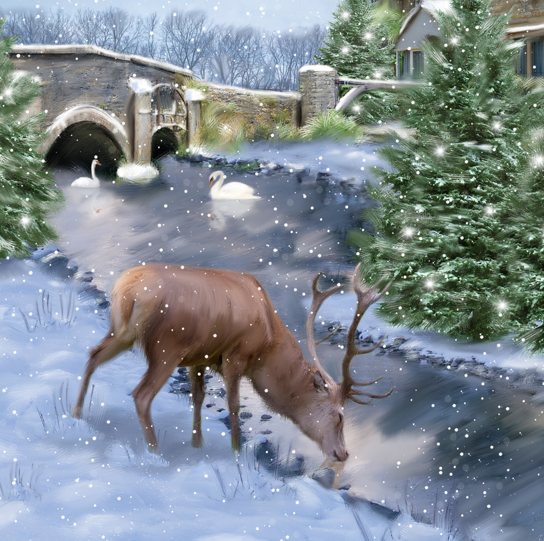 Stag Scene Personalised Christmas Card