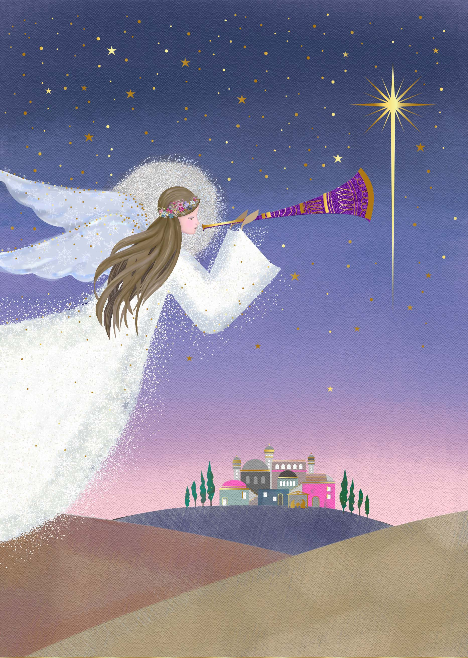 Angel's Song Personalised Christmas Card