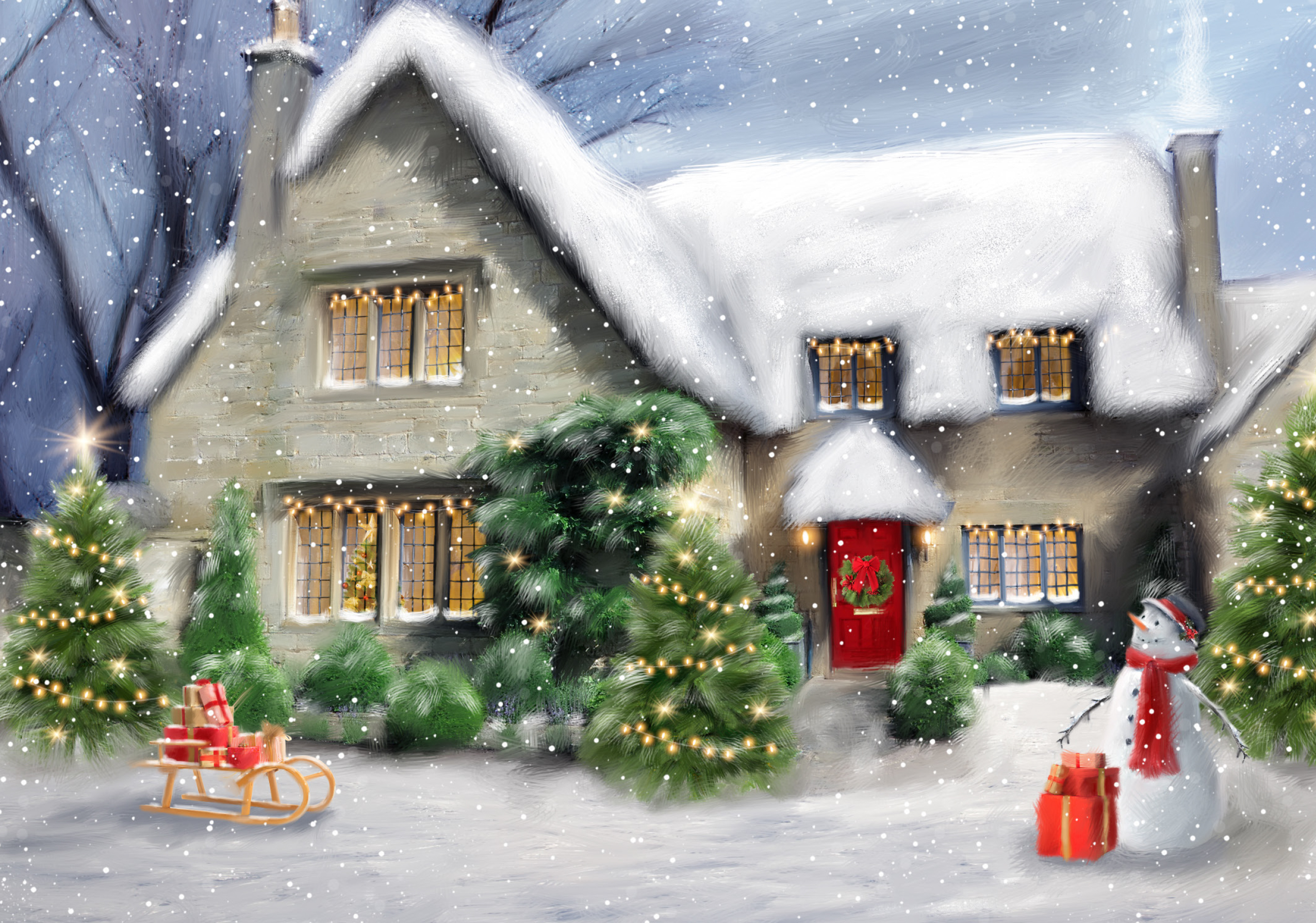 Winter House Personalised Christmas Card