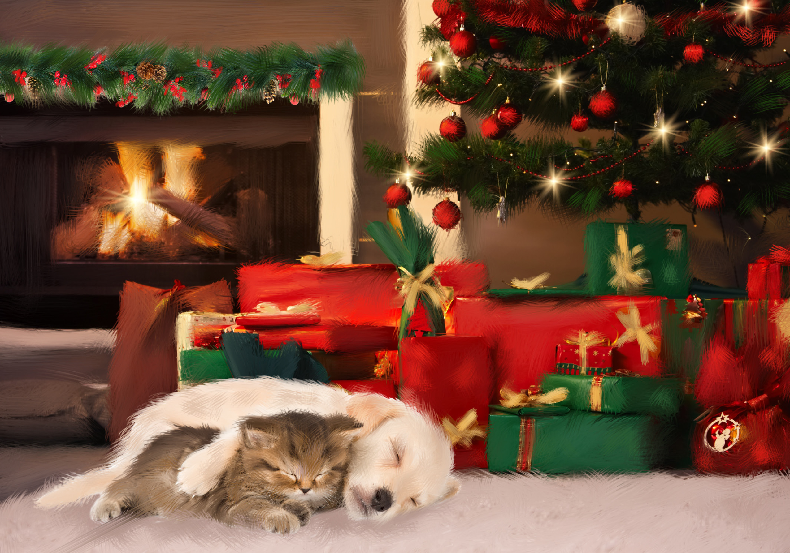 Sleeping Pup and Kitten Personalised Christmas Card