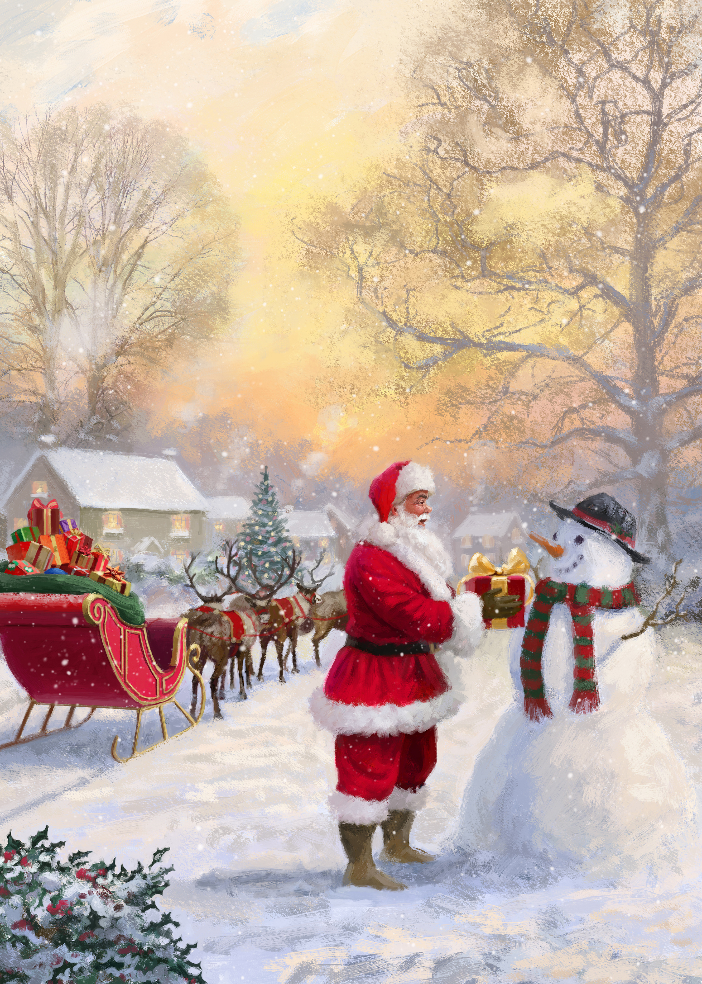 Santa in the Village Personalised Christmas Card