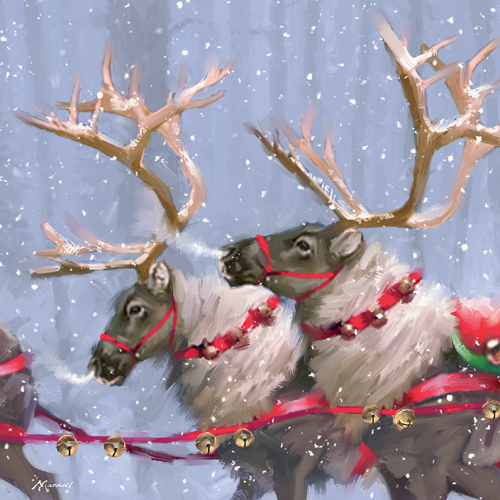 Reindeers Personalised Christmas Card
