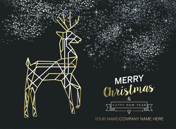 Elegant Reindeer Personalised Christmas Card - Foiled Name