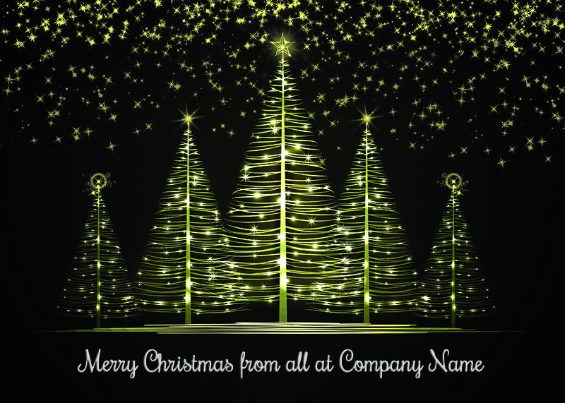 Luminous Forest Personalised Christmas Card - Front Personalisation