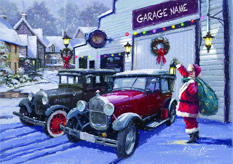 Santa's New Wheels Personalised Christmas Card - Front Personalisation