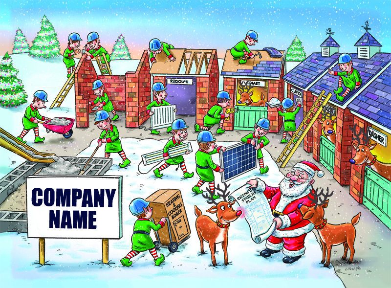 Santa's Stables Personalised Christmas Card - Front Personalisation