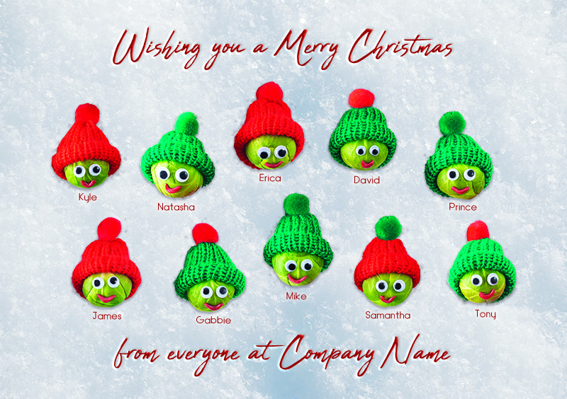 Seasonal Sprouts Personalised Christmas Card - Front Personalisation