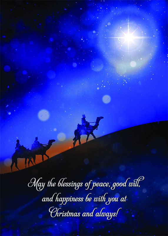 Three Kings Personalised Christmas Card - Front Personalisation