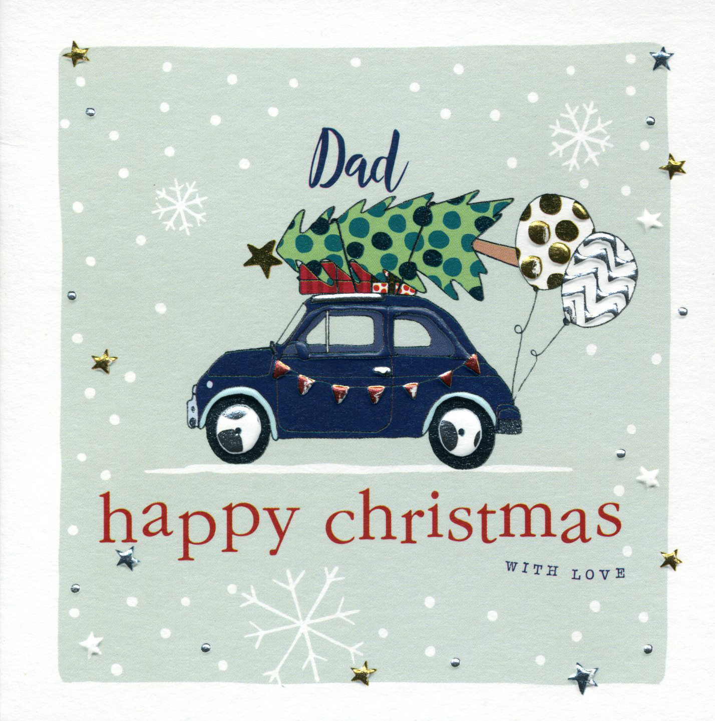 Driving the Tree Home Dad Christmas Card