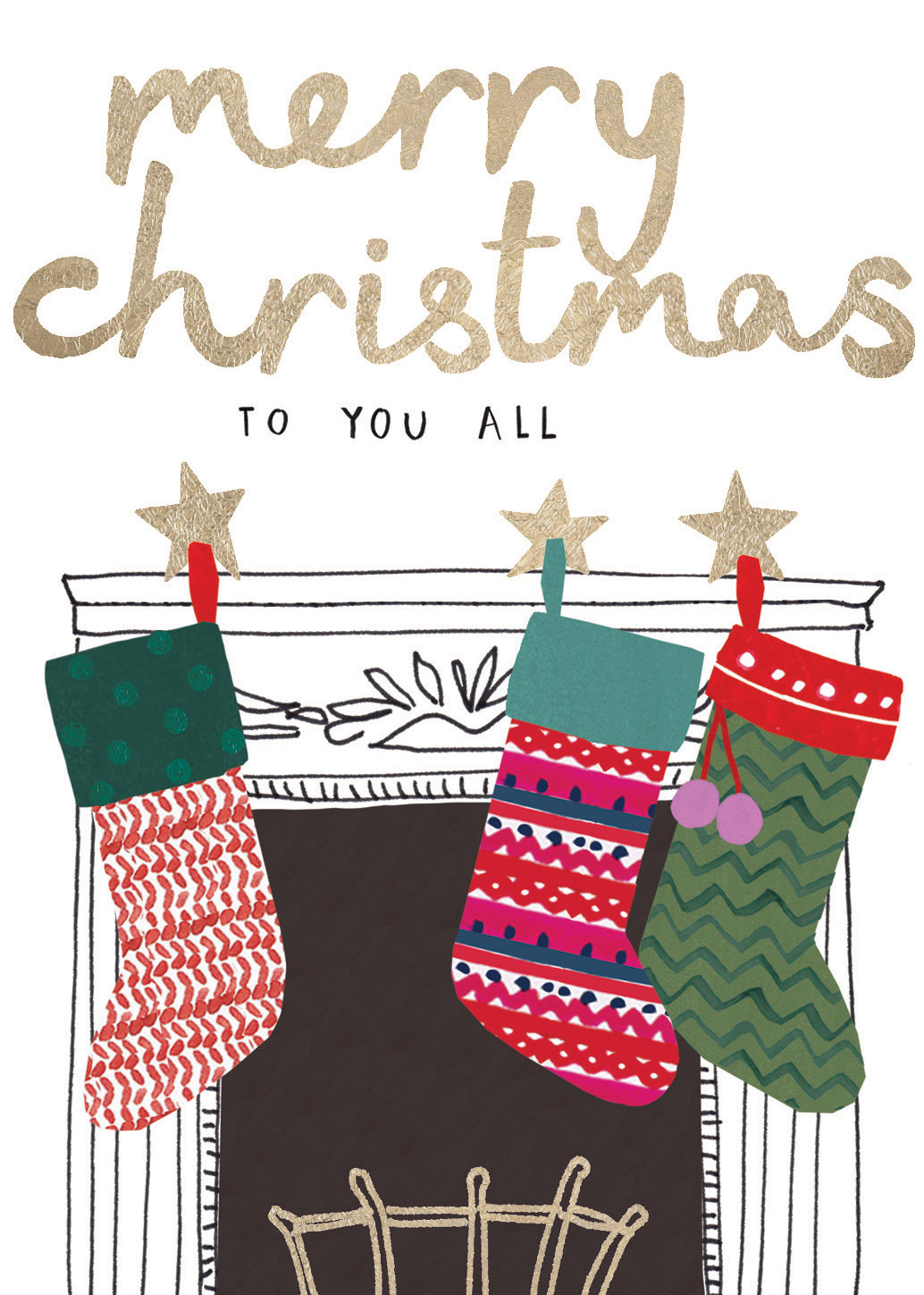 Fireside Stockings To You All Christmas Card