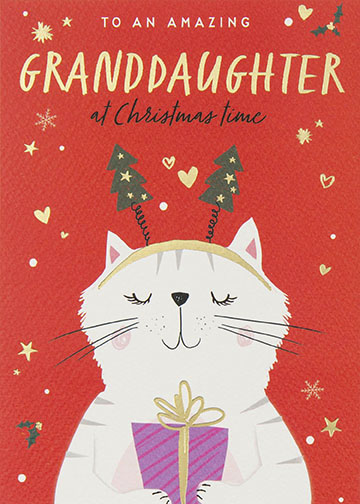 Kitty Cat Granddaughter Christmas Card