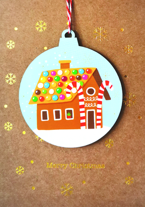 Gingerbread House Bauble Christmas Card