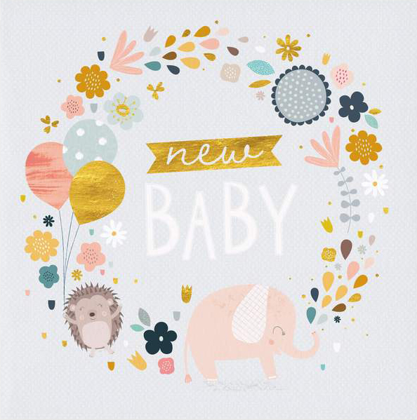 Little Hedgehog and Elephant New Baby Card