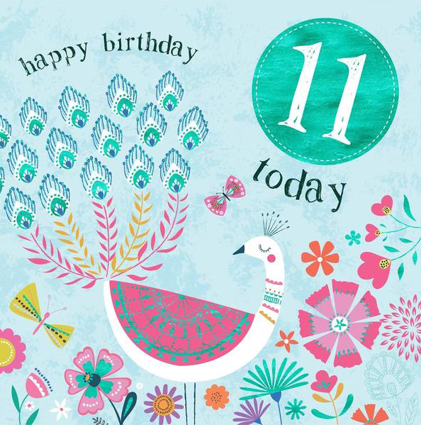 Flowers and Bird 11th Birthday Card