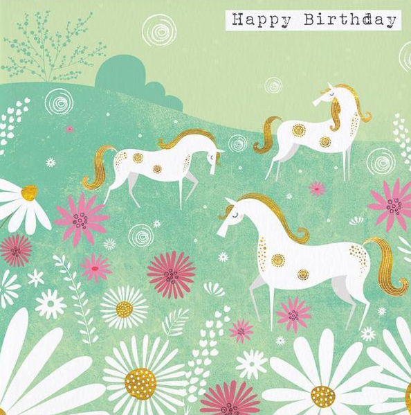 White Ponies Birthday Card