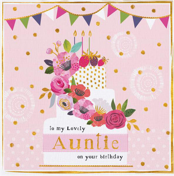 Floral Cake Auntie Birthday Card