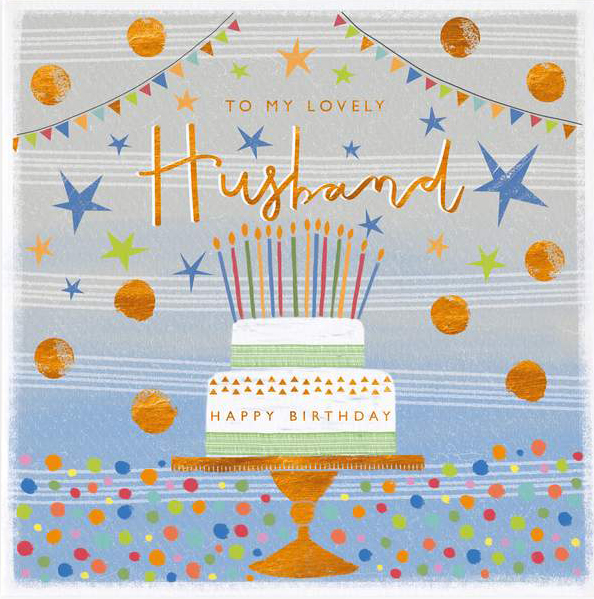 Spots and Cake Husband Birthday Card