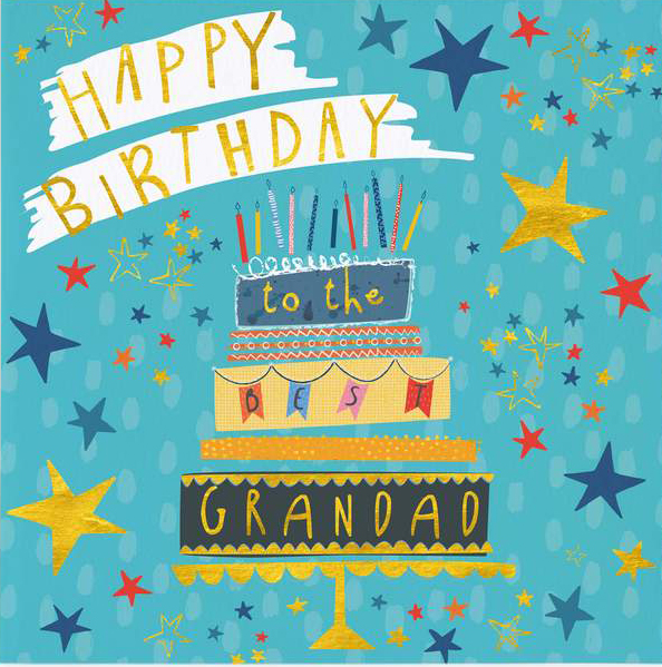 Cake and Stars Grandad Birthday Card