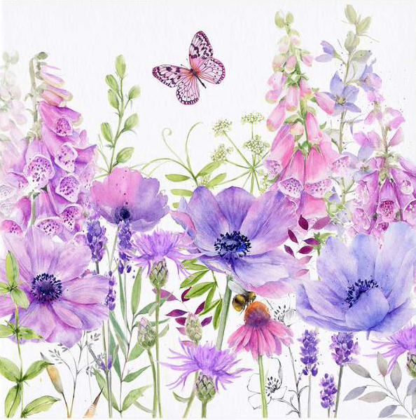 Foxglove Fields Greeting Card