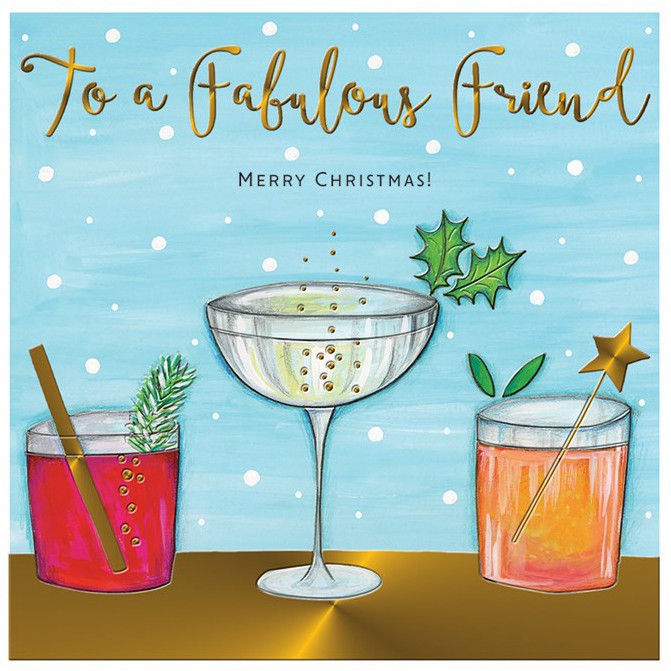 Cocktails Fabulous Friend Christmas Card