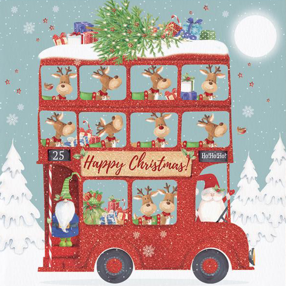 Red Bus Christmas Card