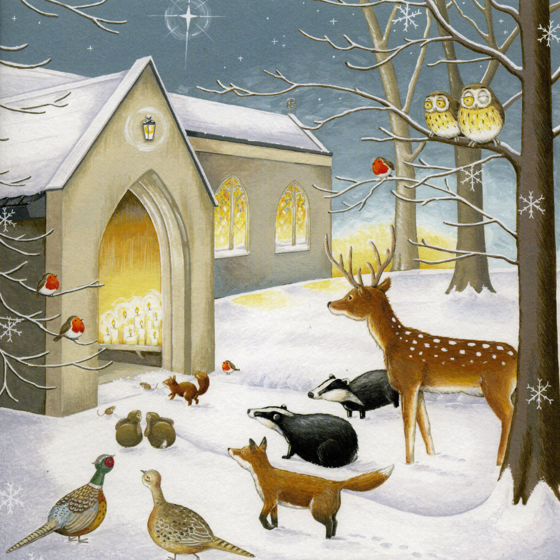Church Scene Christmas Card