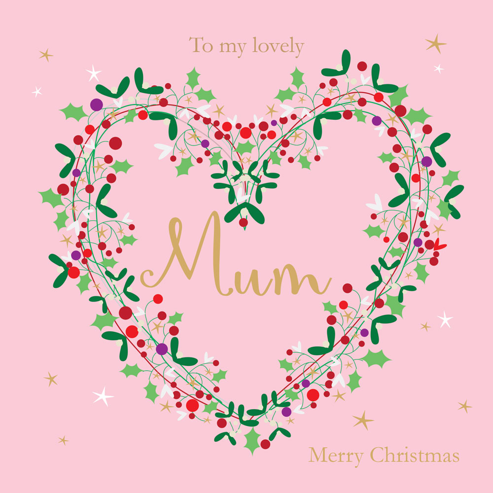 Heart Wreath Mum Christmas Card