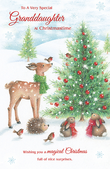 Woodland Animals Granddaughter Christmas Card
