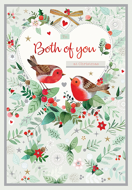 Robins and Berries Both of You Christmas Card