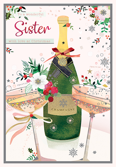 Champagne Sister Christmas Card