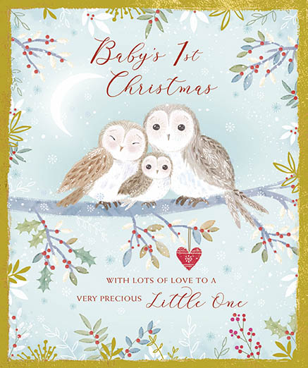 Little Owls Baby's 1st Christmas Card