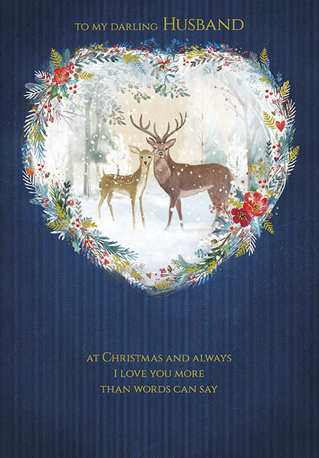 Deer in a Snowy Woodland Husband Christmas Card