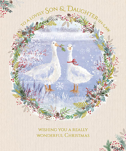 Festive Geese Son and Daughter in Law Christmas Card