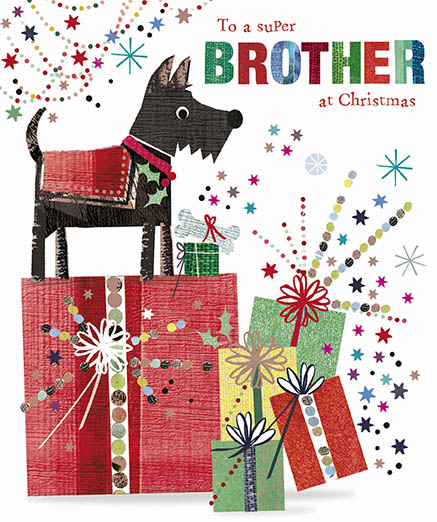 Dog and Presents Brother Christmas Card