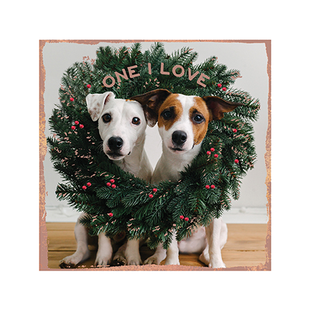 Dogs in a Wreath One I Love Christmas Card