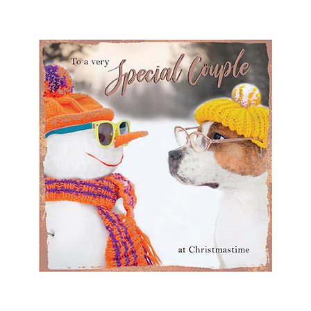 Dog and Snowman Special Couple Christmas Card