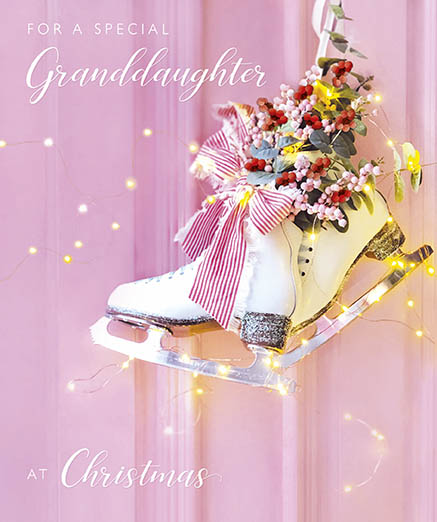 Ice Skating Granddaughter Christmas Card
