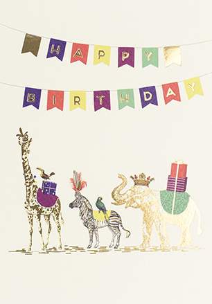 Animals and Bunting Birthday Card