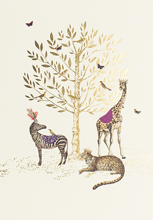 Animals Around the Tree Birthday Card