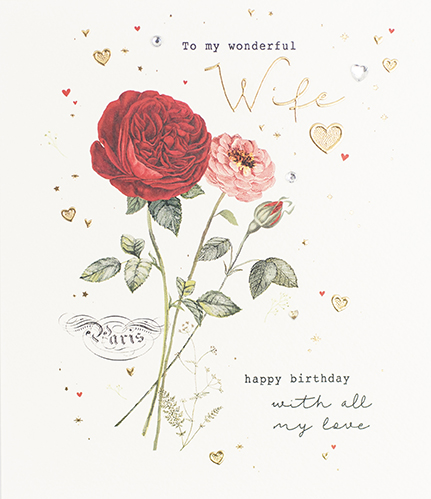 Rose Wife Birthday Card