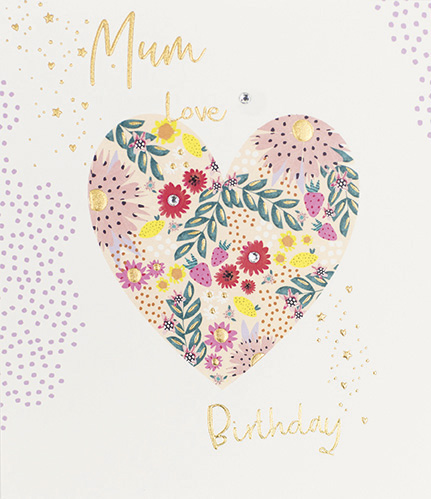 Floral Heart Mum Birthday Card