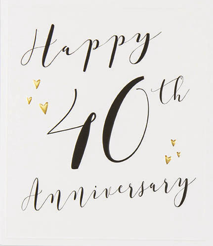 Gold Hearts 40th Anniversary Card