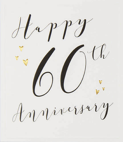 Gold Hearts 60th Anniversary Card