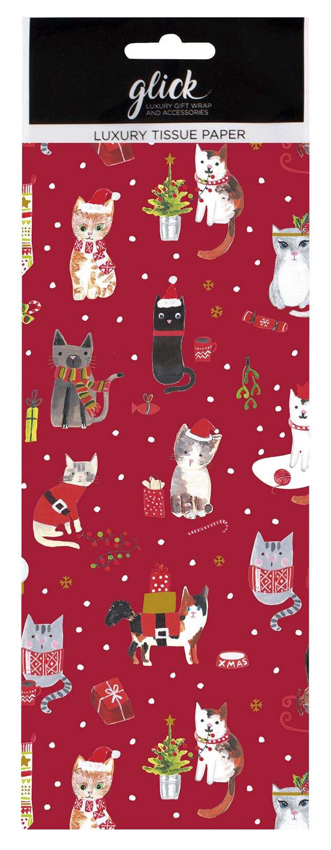 Festive Cats Christmas Tissue Paper 4 Sheets
