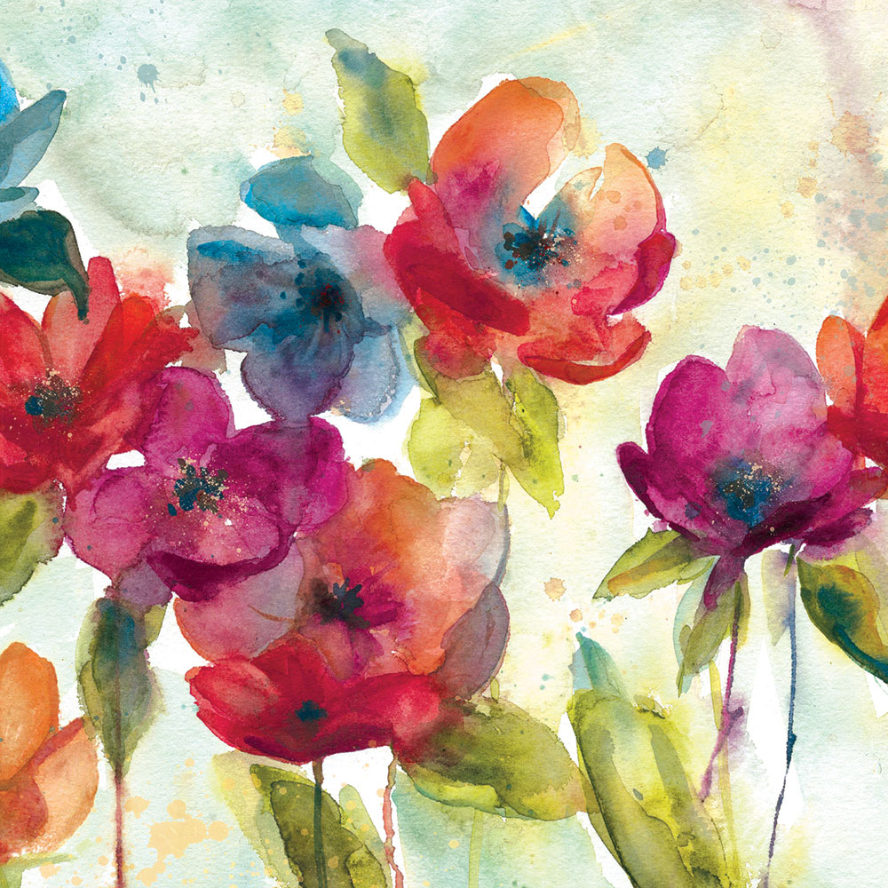 Watercolour Poppies Greeting Card