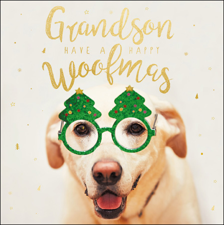 Woofmas Grandson Christmas Card