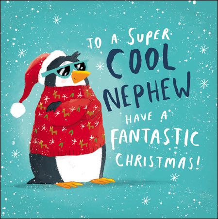 Penguin in a Jumper Nephew Christmas Card