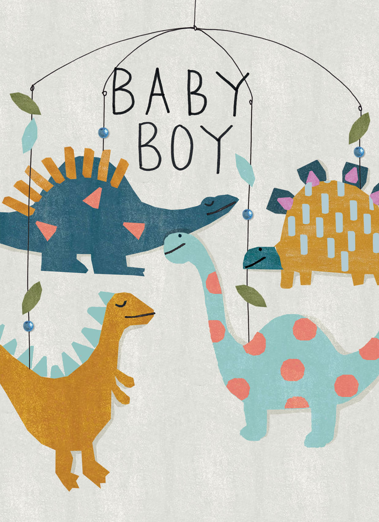 Dinosaur Hanging Mobile New Baby Boy Card