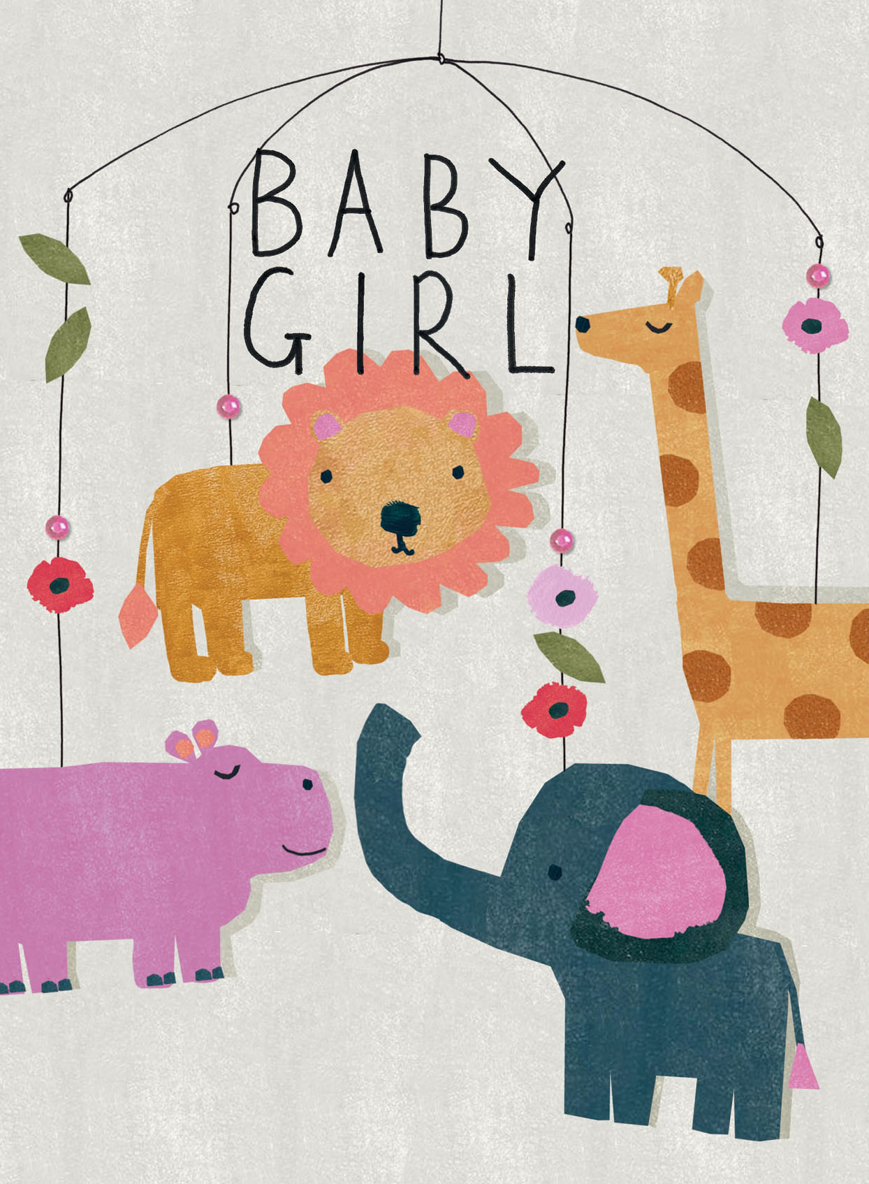 Animals Hanging Mobile New Baby Girl Card