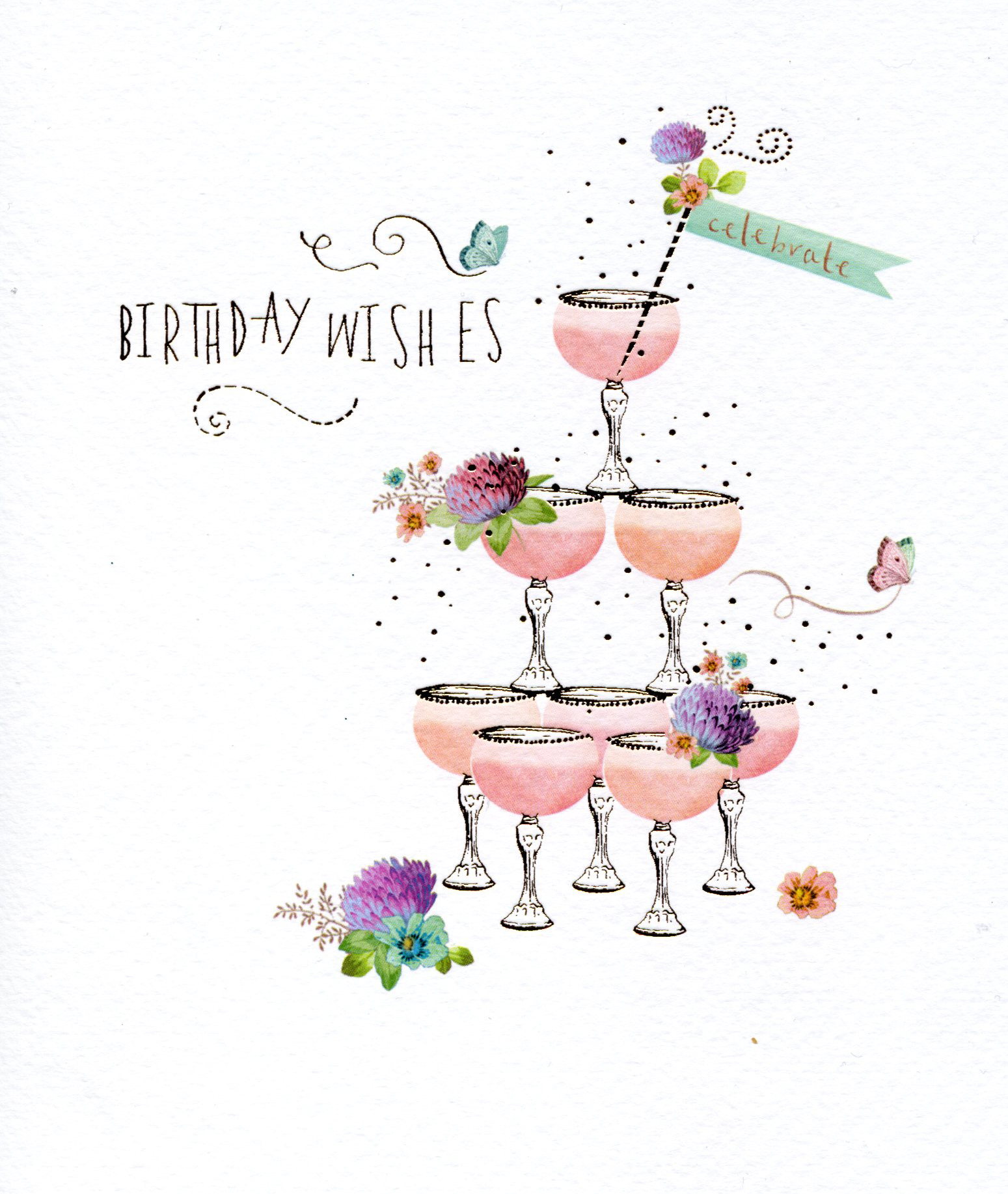 Cocktail Tower Birthday Card
